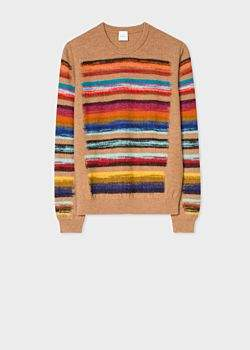 Paul Smith Women's Camel Wool-Blend Multi-Coloured Stripe Sweater