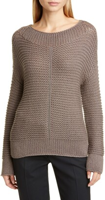 Fabiana Filippi Chain Trim Popcorn Stitch Wool Blend Sweater
