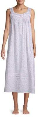 Eileen West Floral Lace-Trimmed Cotton Nightgown