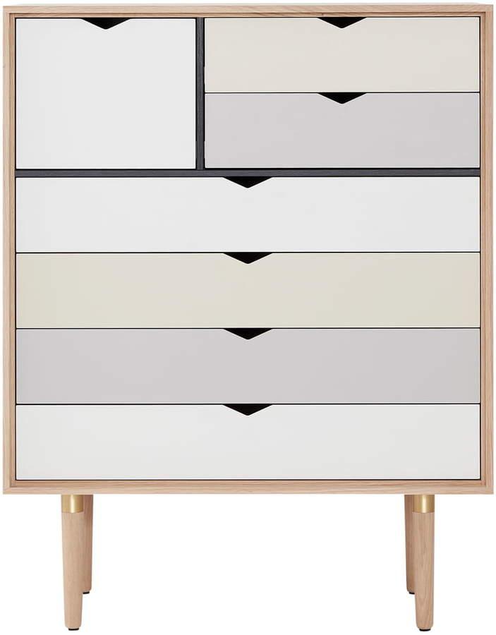 Andersen Furniture - S8 Kommode, Eiche geseift / Fronten Silber, Beige, Metallgrau