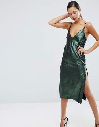 ASOS Sequin Plunge Splice Midi Dress $98 thestylecure.com