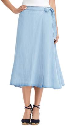 Chaps Women's Chambray A-Line Midi Skirt