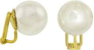 Majorica 18k Gold over Sterling Silver Earrings, Organic Man-Made Pearl Clip On Earrings