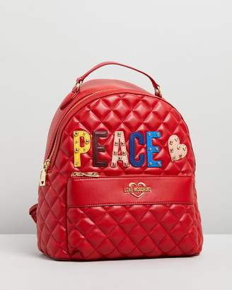 Love Moschino Quilted Peace Logo Backpack