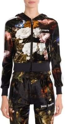 Palm Angels Floral Velvet Hoodie Track Jacket