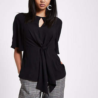 River Island Womens Black tie front short sleeve blouse