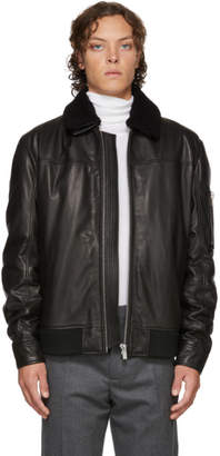 HUGO Black Leather Lannson Jacket