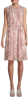 Nanette Lepore Nanette Pleated Snake-Print Dress