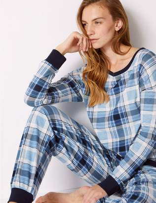 Marks and Spencer Cotton Rich Checked Long Sleeve Pyjama Set