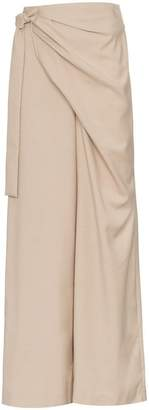 Low Classic high waisted wrap wool blend trousers