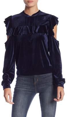 Romeo & Juliet Couture Long Sleeve Velvet Cold Shoulder Blouse