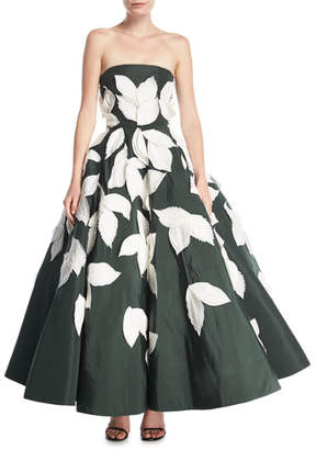 Oscar de la Renta Strapless Full-Skirt Evening Gown with Floral Appliques