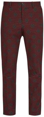 Etro Jacquard Cotton Blend Trousers - Mens - Multi