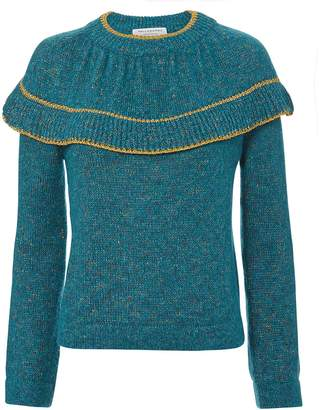 Philosophy di Lorenzo Serafini Teal Ruffle Sweater