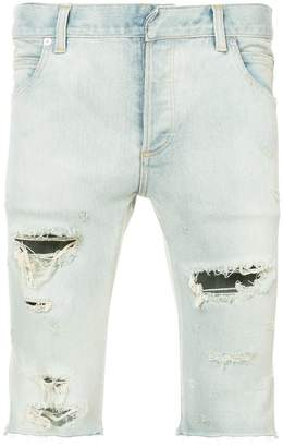 Balmain distressed denim shorts