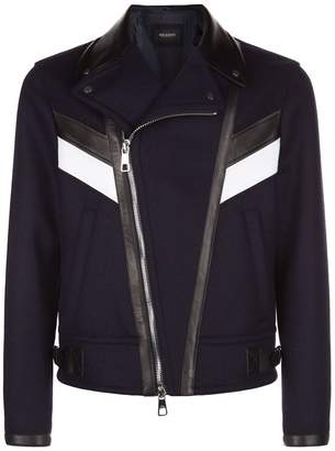 Neil Barrett Striped Leather Trim Biker Jacket