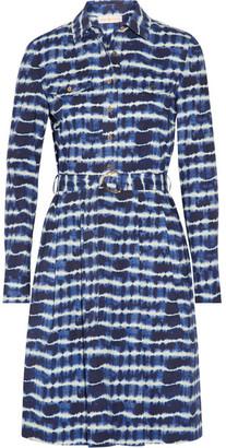 Tory Burch - Derrick Tie-dyed Stretch-cotton Poplin Shirt Dress - Navy $350 thestylecure.com