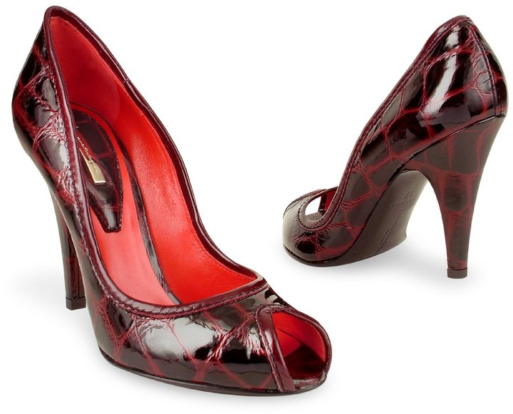 Mario Bologna Open Toe Wine Red Croco Stamped Pump Shoes