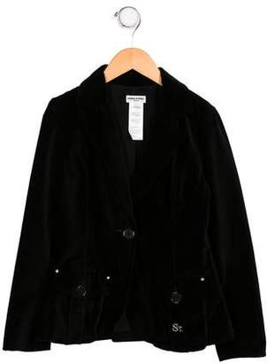 Sonia Rykiel Girls' Velvet Notch-Lapel Jacket