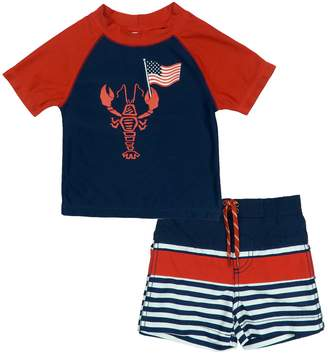 Trunks Baby Boy Kiko & Max Patriotic Lobster Rash Guard Top & Swim Set