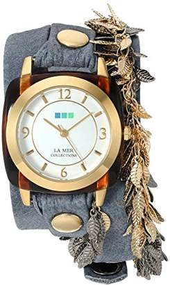 La Mer Women's 'Multi Leaf' Quartz Gold-Tone and Leather Watch