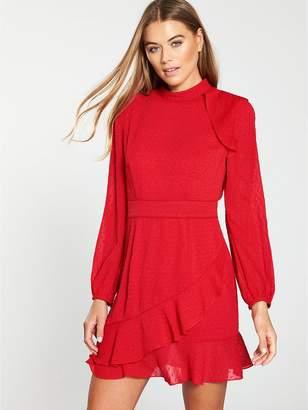 Whistles High Neck Dobby Frill Dress - Red