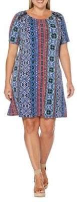 Rafaella Plus Printed Roundneck T-Shirt Dress