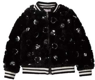Design History Faux Fur Sequin Heart Bomber Jacket (Little Girls)
