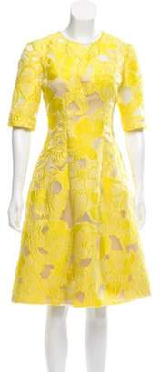 Lela Rose Brocade Knee-Length Dress Yellow Brocade Knee-Length Dress