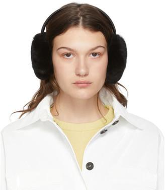 Yves Salomon Black Rex Rabbit Fur Earwarmers