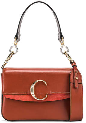 Chloé Small C Double Carry Bag in Sepia Brown | FWRD