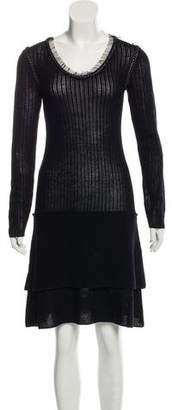 Philosophy di Alberta Ferretti Virgin Wool Embellished Dress