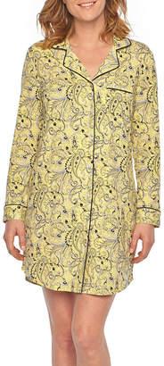 Liz Claiborne Jersey Long Sleeve Notch Collar Nightshirt