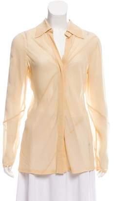 Gucci Chiffon Long Sleeve Button-Up