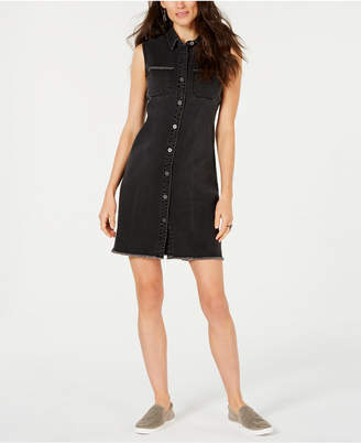 Style&Co. Style & Co Petite Frayed Denim Sleeveless Shirtdress