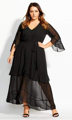 City Chic Citychic Romantic Ruffle Maxi Dress - black