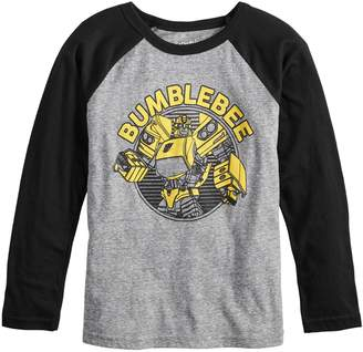 Bumble Bee Boys 4-12 Jumping Beans Retro Transformers Bumblebee Raglan Graphic Tee