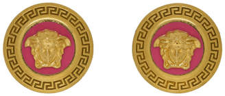 Versace Pink and Gold Small Medusa Coin Earrings