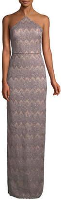 Aidan Mattox Long Column Halter Dress w/ Right Slit