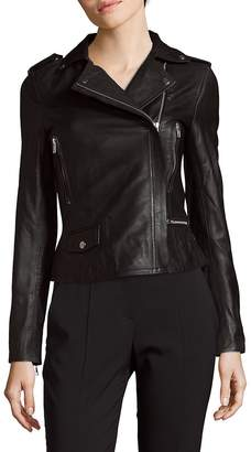 Muu Baa Muubaa Women's Cropped Biker Leather Jacket