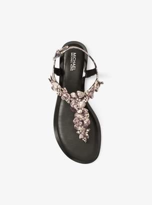 MICHAEL Michael Kors Tricia Floral Applique Snake-Embossed Leather Sandal