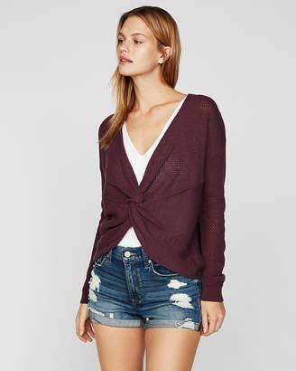 Express Twist Front Hi-Lo Tunic Sweater