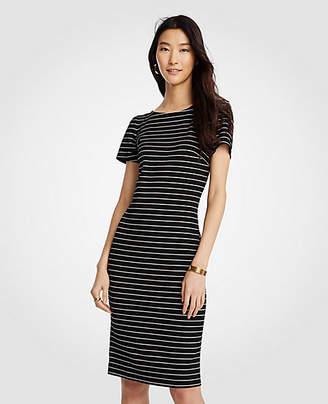 Ann Taylor Petite Stripe Puff Sleeve Ponte Sheath Dress