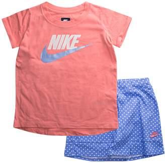 Nike Girls 4-6x Logo Tee & Polka-Dot Skort