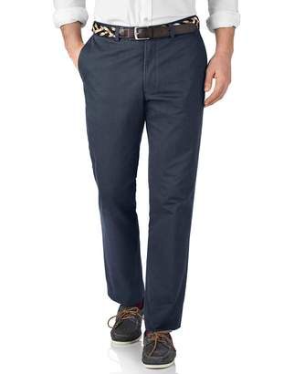 Charles Tyrwhitt Airforce Blue Slim Fit Flat Front Cotton Chino Pants Size W30 L30