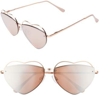 BP Cutout Heart 60mm Aviator Sunglasses