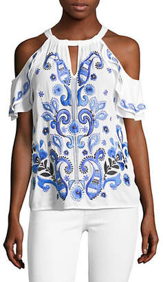 INC International Concepts Embroidered Cold-Shoulder Top
