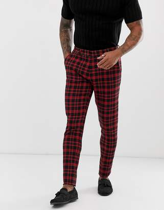 Asos Design DESIGN super skinny suit pants in red plaid check
