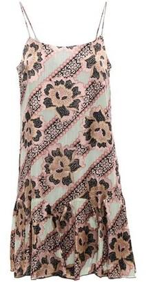Anna Sui Ruffled Metallic Floral-print Fil Coupe Silk-blend Dress