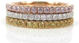 575 Denim 18K Yellow, Rose & White Gold & 2.10tcw Diamond Set of 3 Eternity Bands Sz